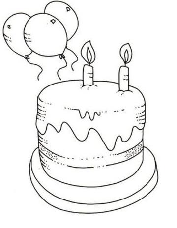 דף צביעה עוגת יום הולדת