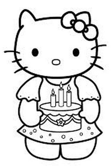 דף צביעה יום הולדת 3- הלו קיטי