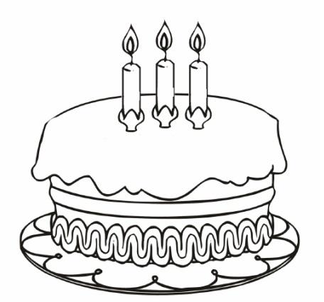 דף צביעה עוגת יום הולדת 3