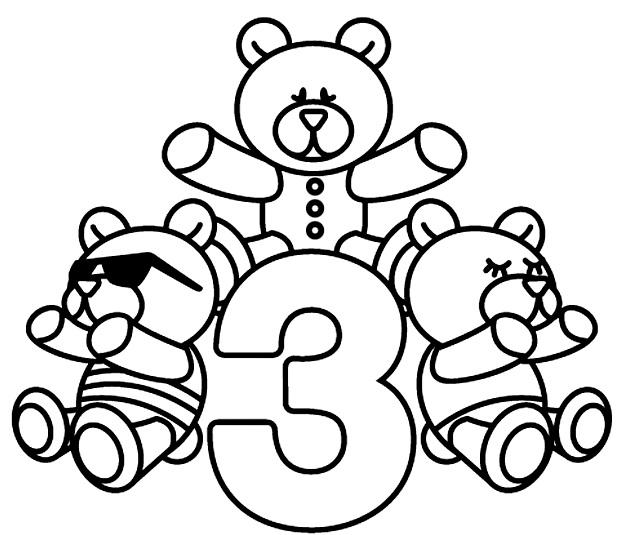 דף צביעה יום הולדת 3 דובים