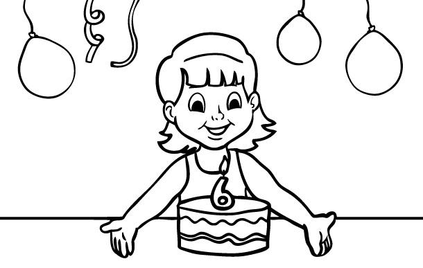 דף צביעה יום הולדת 6
