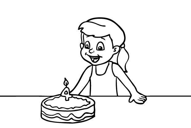 דף צביעה יום הולדת שמח