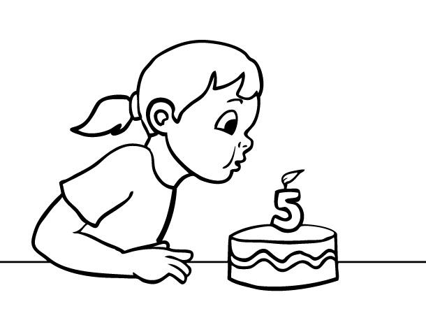 דפי צביעה יום הולדת 5