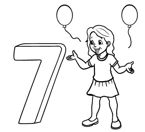 דף צביעה יום הולדת 7