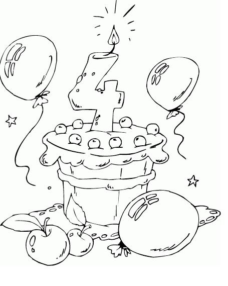 דפי צביעה יומולדת 4 עוגה ובלונים