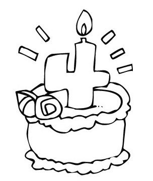 עוגת יום הולדת 4 דפי צביעה