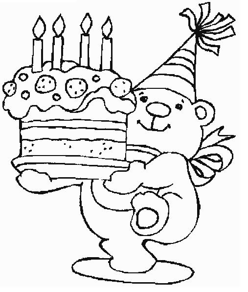 דפי צביעה יום הולדת 4 דובוניכפת לי