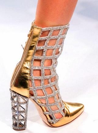 נעלי עקב רשת יהלומים וזהב