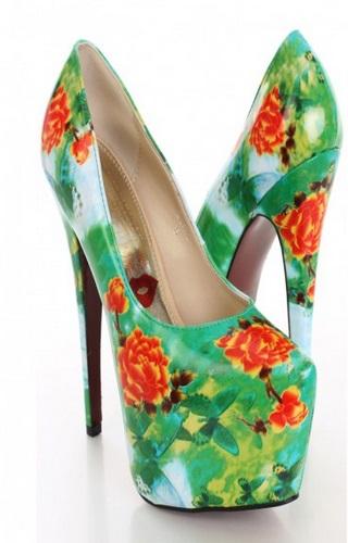 נעלי עקב פרחוניות