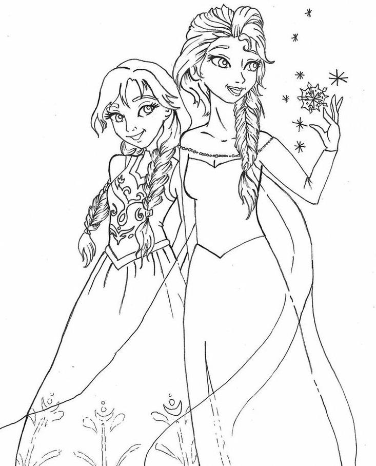 דפי צביעה הנסיכות אלזה ואנה