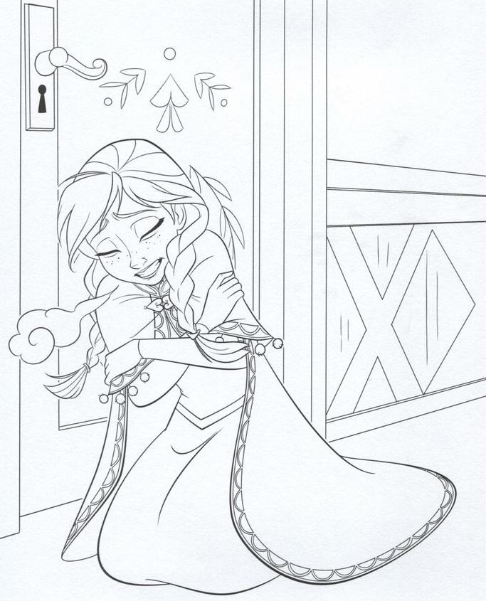 דף צביעה לשבור את הקרח הנסיכה אנה